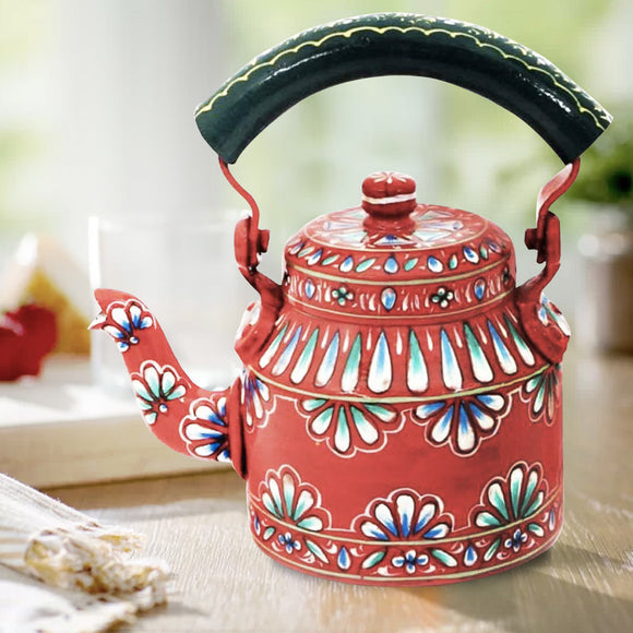Aluminium Red Embroidered Tea Kettle Hand Crafted Decorative Showpiece