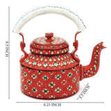 Red flowers aluminium tea kettle showpiece