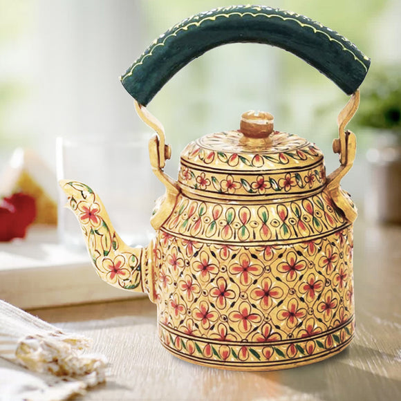 Aluminium Golden Tea Kettle Hand Crafted Decorative Showpiece