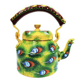 Peacock Feathers Hand Crafted Tea Kettle Decorative Showpiece