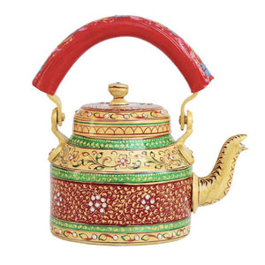 Mehandi aluminium tea kettle showpiece