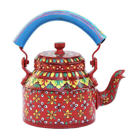 Red Aluminium Hand Crafted Tea Kettle Decorative Showpiece