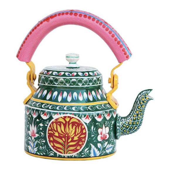 Green aluminium tea kettle showpiece