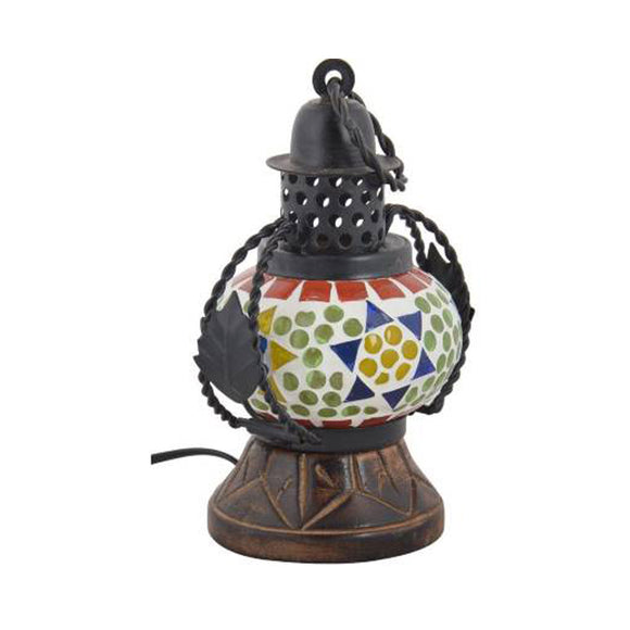 Mosaic multicolour table and hanging lantern