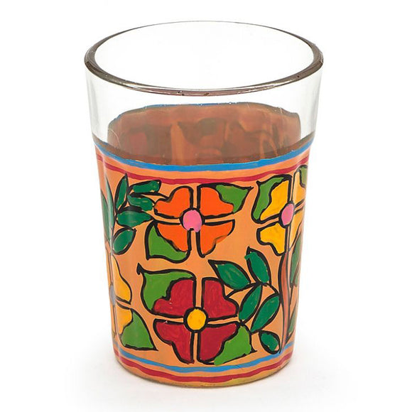Colourful flowers hand painted tea glass set of 4