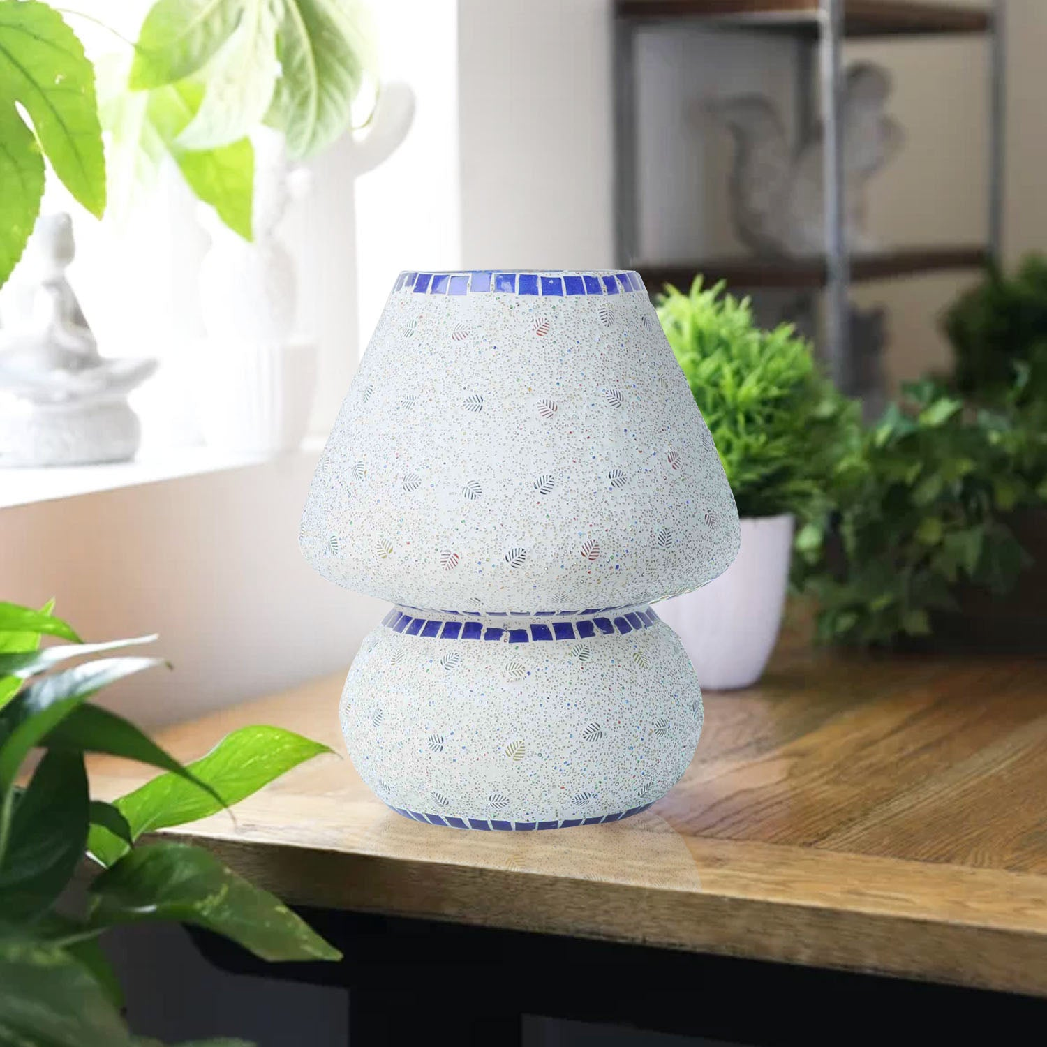 Buy Colourful Mosaic Glass Earth Table Lamp Online At Craftkriti Com