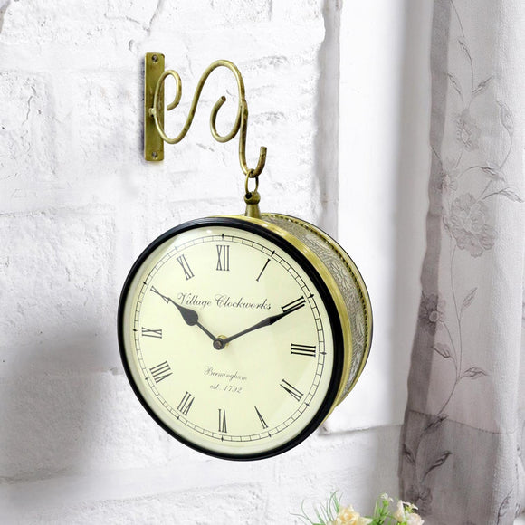 Golden metal antique railway wall clock