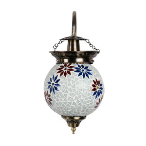 Two colour flower mosaic wall lamp