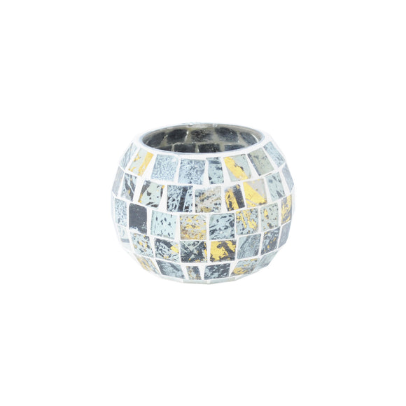 Mosaic glass marbeled tea light holder