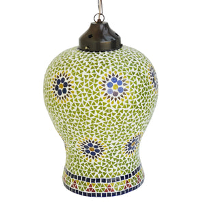 Green Handmade Glass Hanging Pendant Lamp