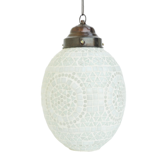 White egg mosaic glass pendant ceiling lamp