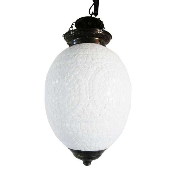 White mosaic glass pendant ceiling lamp