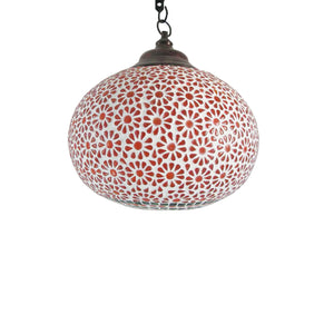 Red glass shelgum hanging pendant lamp