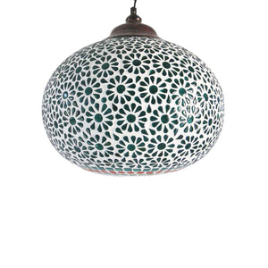 Green shelgum glass ceiling pendant lamp