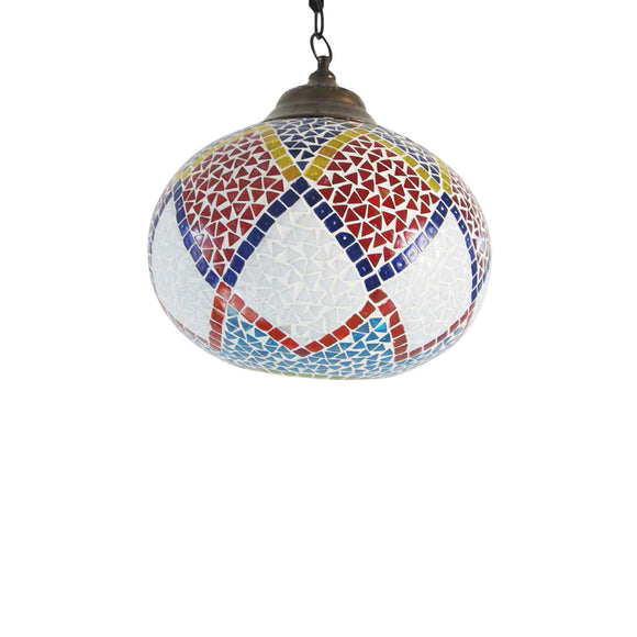 Multicolour glass shelgum ceiling pendant lamp