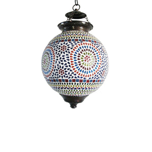 Multicolour glass round ethnic hanging pendant lamp