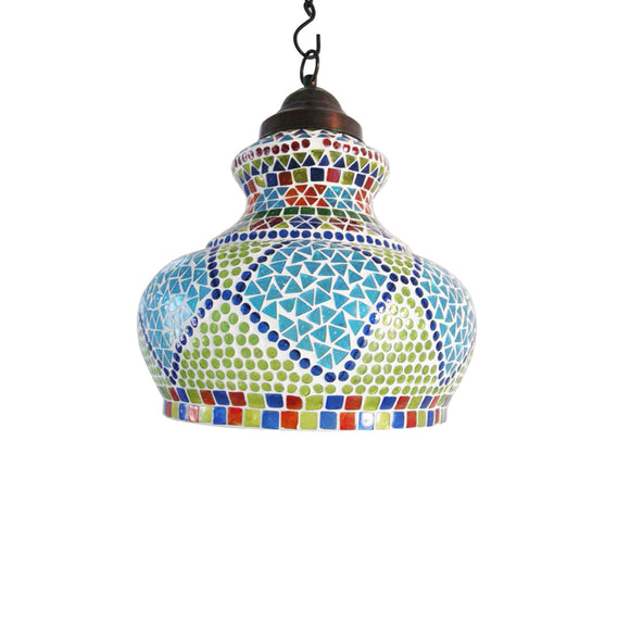 Multicolour glass mosaic zigzag hanging pendant lamp