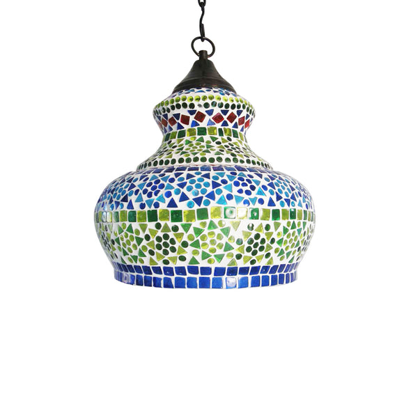 Multicolour Glass Ethnic Hanging Pendant Lamp