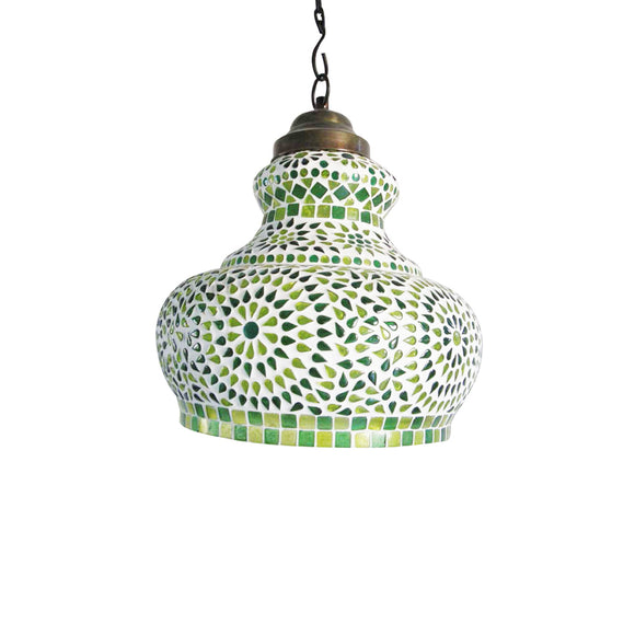 Green glass hanging pendant lamp