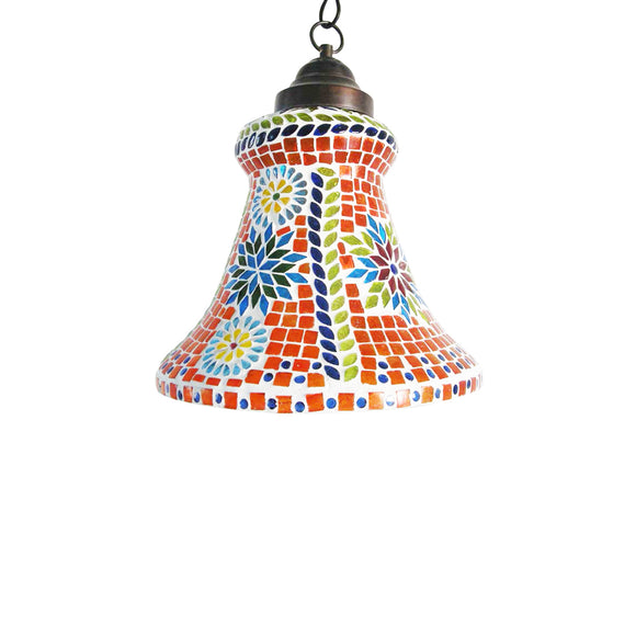 Orange bell pendant lamp