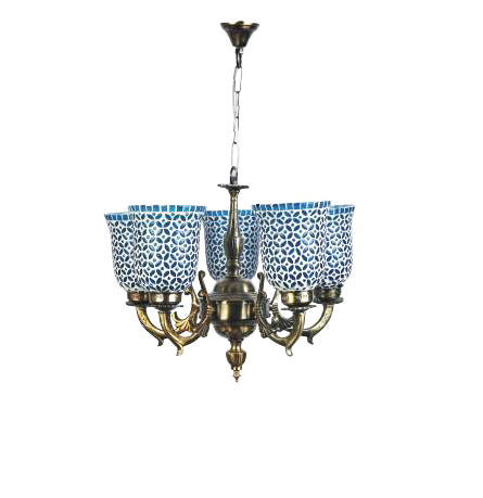 Blue glass ceiling pendent chandelier