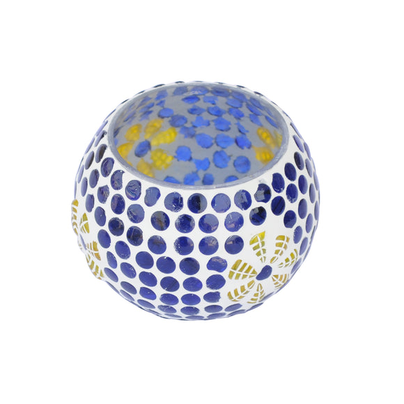 Blue Glass Mosaic Tea Light Holder