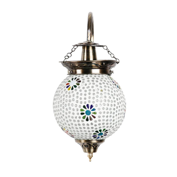 White beads multicolour flower mosaic wall lamp