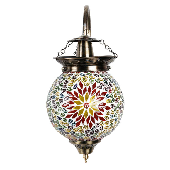 Multicolour mosaic red flower wall lamp