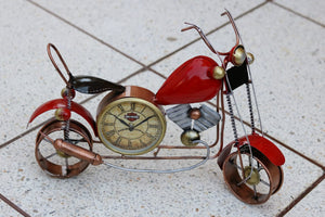 Red Metal Table Clock Bike Showpiece