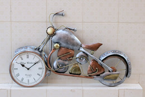 Silver Metal Bike Wall Clock