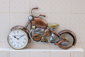 Brown metal bike wall clock
