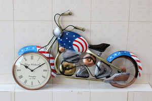 American blue metal bike wall clock