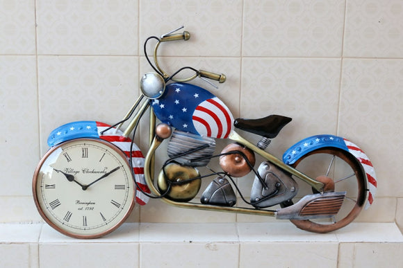 Blue Metal Bike Wall Clock