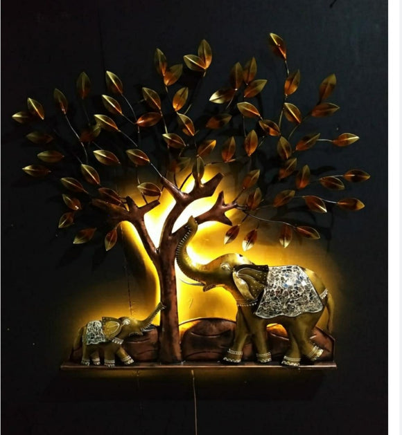 Handcrafted elephant under tree metal wall decor