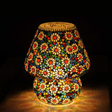 Multicolour Glass Mosaic Mushroom Table Lamp