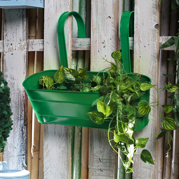 Green Metal Oval Railing Planter
