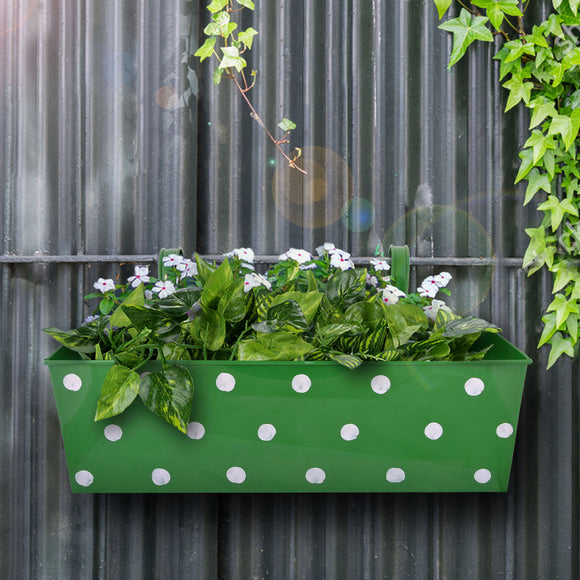 Green polkadot metal balcony planter