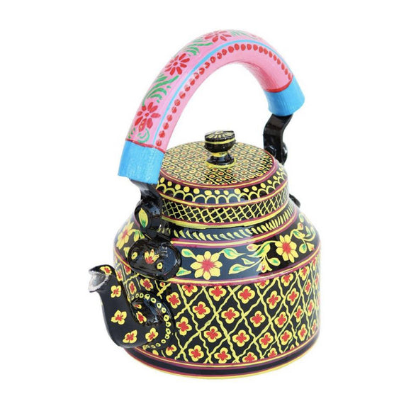 Black Aluminium Hand Crafted Tea Kettle Decorative Showpiece