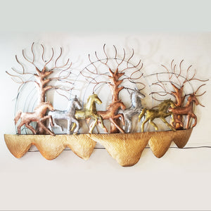 Seven metal running horses LED wall art