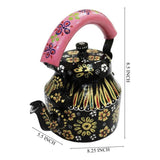 Black aluminium tea kettle showpiece
