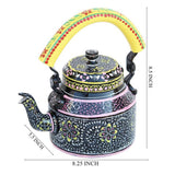 Black flowers aluminium tea kettle showpiece