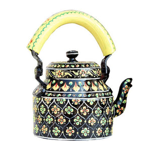 Black mehendi aluminium tea kettle showpiece