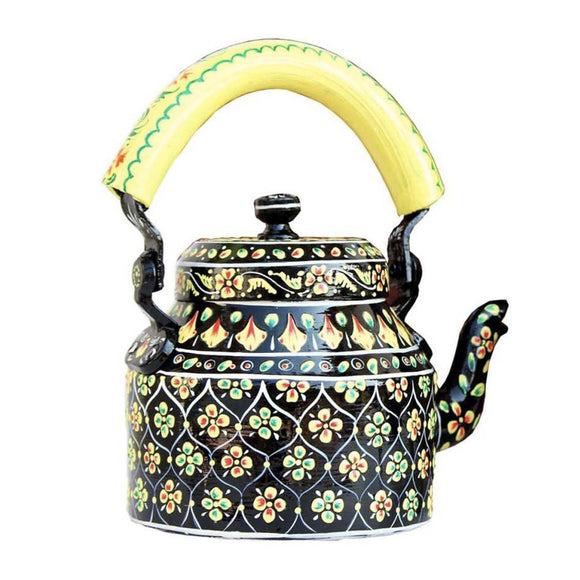 Black Mehndi Hand Crafted Tea Kettle Decorative Showpiece