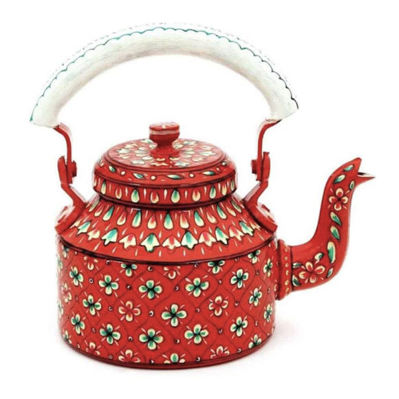 Aluminium Red Tea Kettle Hand Crafted Decorative Showpiece