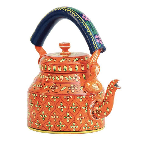 Orange aluminium tea kettle showpiece