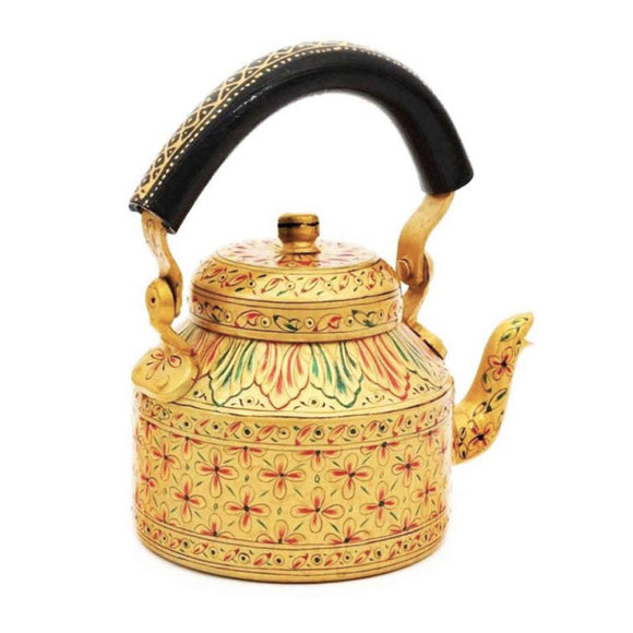 Golden flowers aluminium tea kettle showpiece