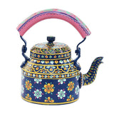 Blue flower aluminium tea kettle showpiece