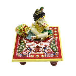 Polyresin ladoo gopal god idol on chowki