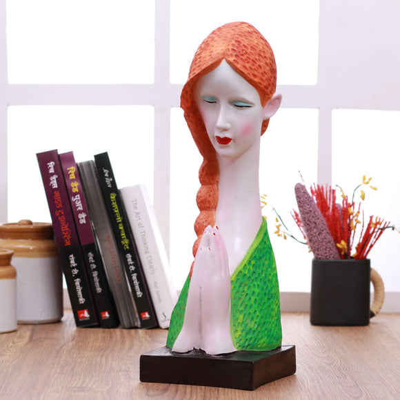 Polyresin lady welcome showpiece