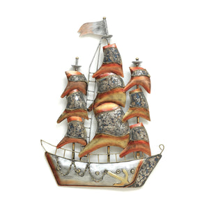 Multicolour Metal Ship Wall Art with LED